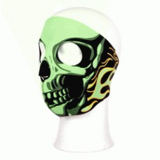 Biker mask full face green flames