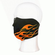 Biker mask half face orange flames
