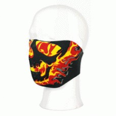 Biker mask half face yellow/red flames