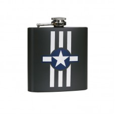 drinkflesje plat, USAF Invasion stripes,  6oz ca 170ml