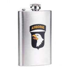 drinkflesje plat, airborne RVS  5oz ca 150ml, zakfles, drinkflacon