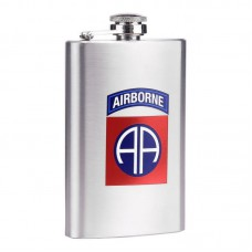 drinkflesje plat, 82nd airborne RVS  5oz ca 150ml, zakfles, drinkflacon