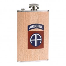 drinkflesje plat, 82nd airborne houtlook 5oz ca 150ml, zakfles, drinkflacon