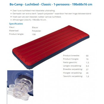 Bo-camp luchtbed classic 1 persoons