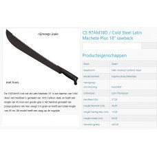 machete cold steel 18 inch +zaag