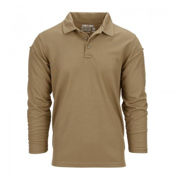 Polo stretch quick dry, licht bruin, lange mouw